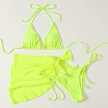 3pack Neon Lime Triangle Bikini Swimsuit With Beach Skirt
