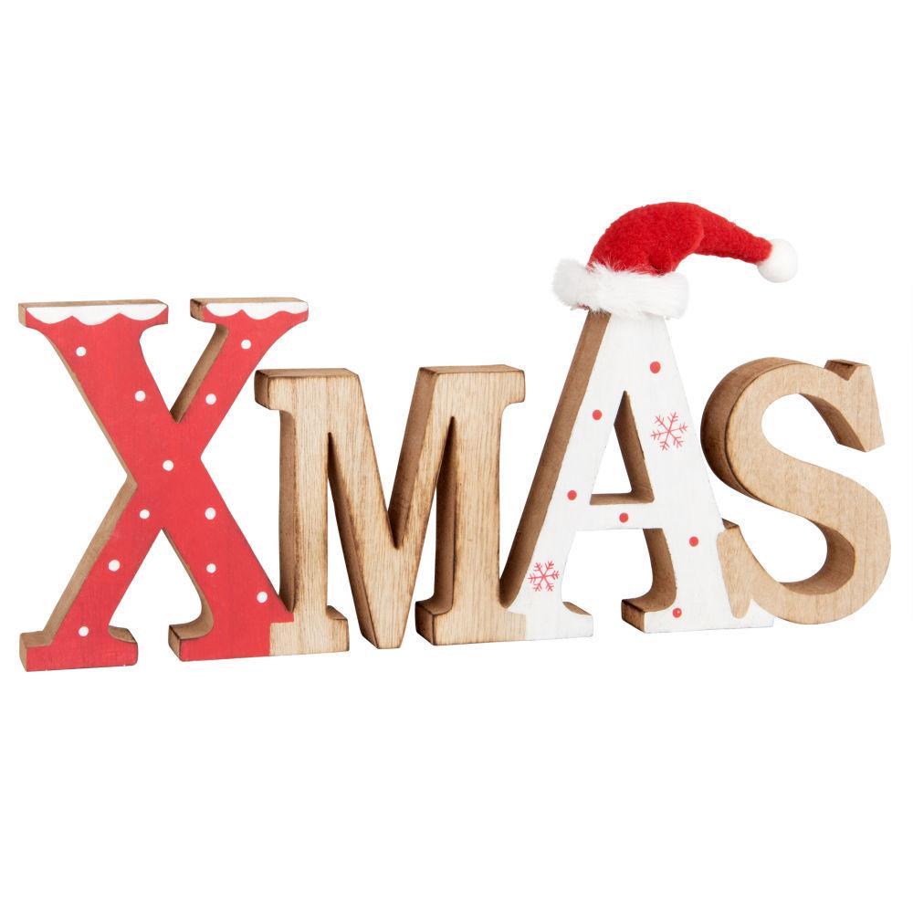 Weihnachtlicher Deko-Schriftzug, bunt