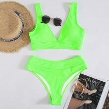 Neon Green Rib V Neck High Waisted Bikini Swimsuit