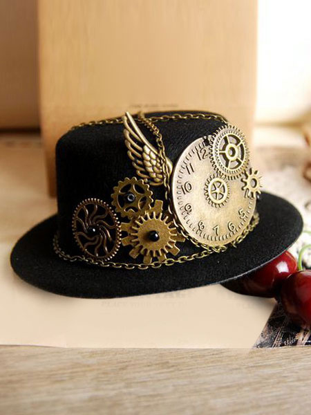 Milanoo Vintage Lolita Hat Black Steampunk Wing Gear Chains Deco Retro Lolita Cap