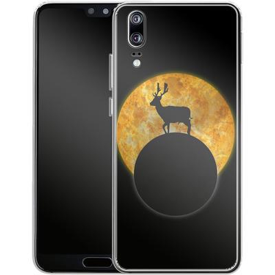 Huawei P20 Silikon Handyhuelle - Deer on the Moon von Barruf