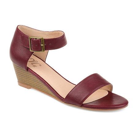 Journee Collection Womens Gladis Pumps Open Toe Wedge Heel, 7 1/2 Medium, Red