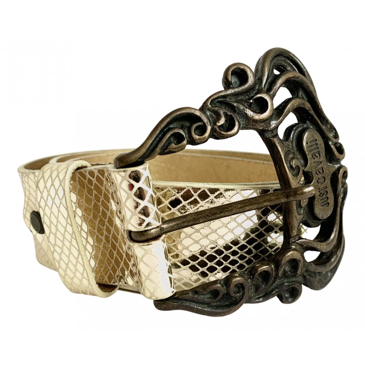 Just Cavalli N Gold Leather belt for Women XS International