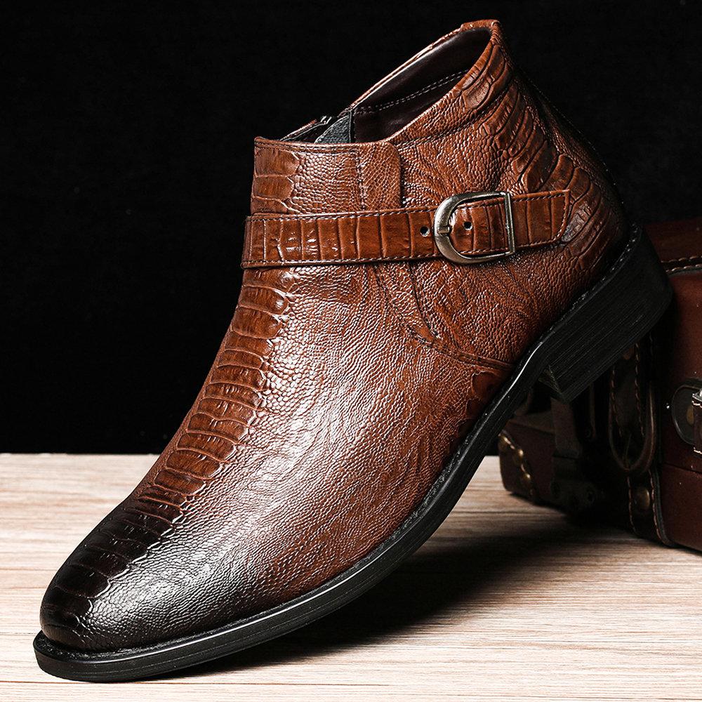 Men Stylish Crocodile Pattern Zipped Inside Leather Ankle Dress Boots