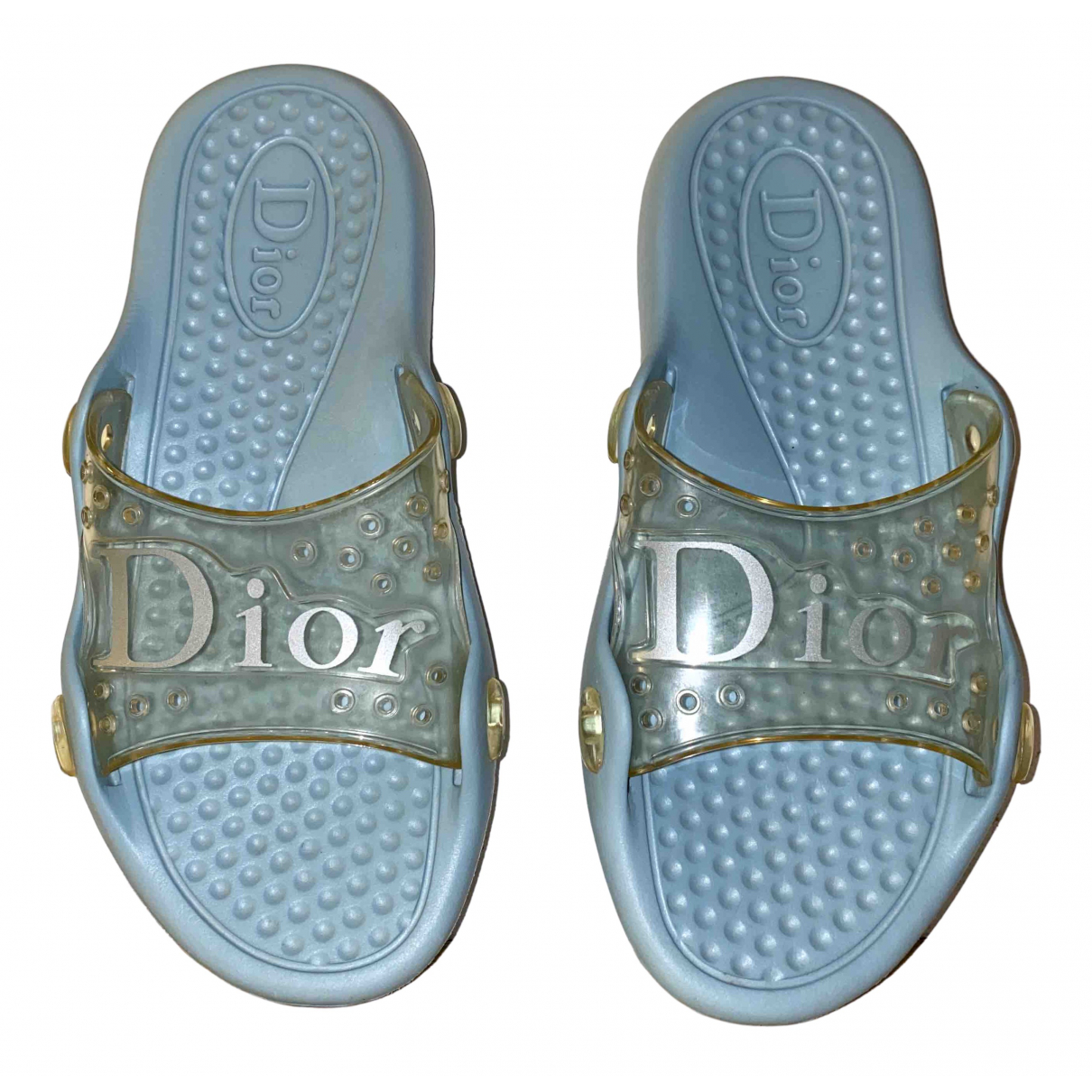 Dior Dio(r)evolution Turquoise Rubber Sandals for Women 37 IT