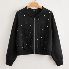 Sweatshirt mit Reissverschluss, Perlen vorn und Kapuze