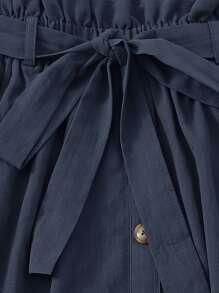 Slogan Graphic Top & Paperbag Waist Belted Skirt Set
