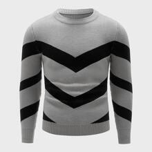 Pullover mit Chevron Einsatz