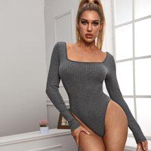Square Neck Rib-knit Skinny Tee Bodysuit
