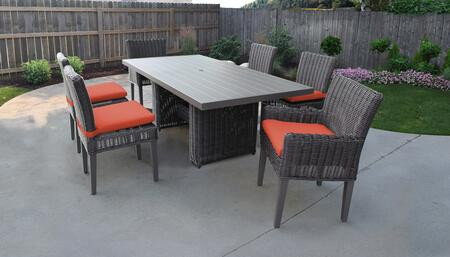 Venice Collection VENICE-DTREC-KIT-4ADC2DCC-TANGERINE Patio Dining Set With 1 Table  4 Side Chairs  2 Arm Chairs - Wheat and Tangerine