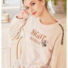 Letter Embroidery Flannel PJ Set