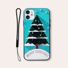 Christmas Tree Print iPhone Case With Lanyard