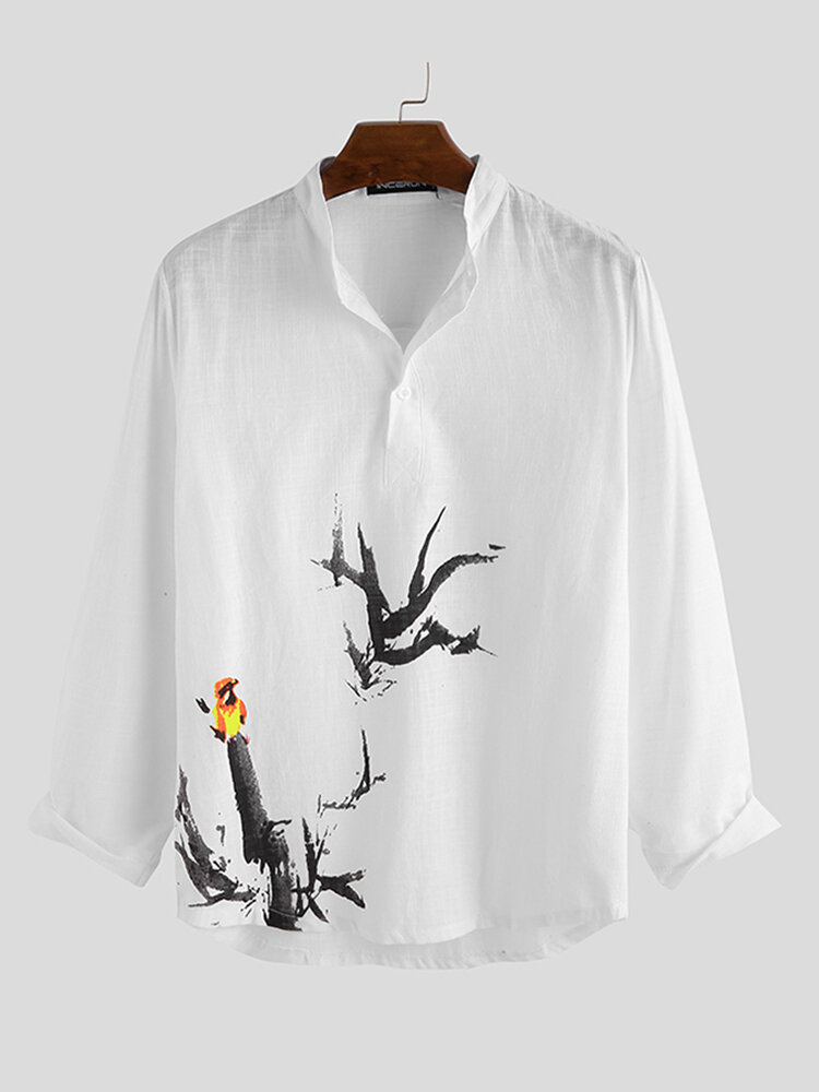 Mens Chinese Style Little Bird Printing Long Sleeve Plain Casual Henley Shirts