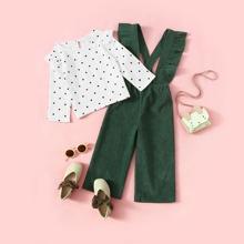Camisa de niñitas fruncido de lunares con mono de tira