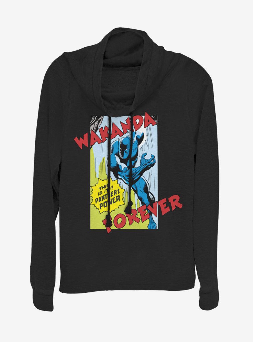 Marvel Black Panther Comic Strip Cowlneck Long-Sleeve Womens Top