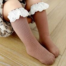 Kleinkind Maedchen Gerippte Socken mit Ose Stickereien