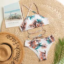 Plant Print Tie Back Bikini Swimsuit