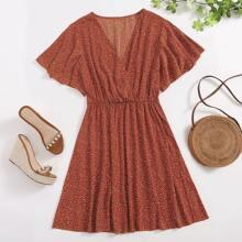 A-Linie Kleid mit Dalmatiner Muster und V-Kragen
