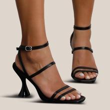 Open Toe Thin Strap Spool Heeled Sandals