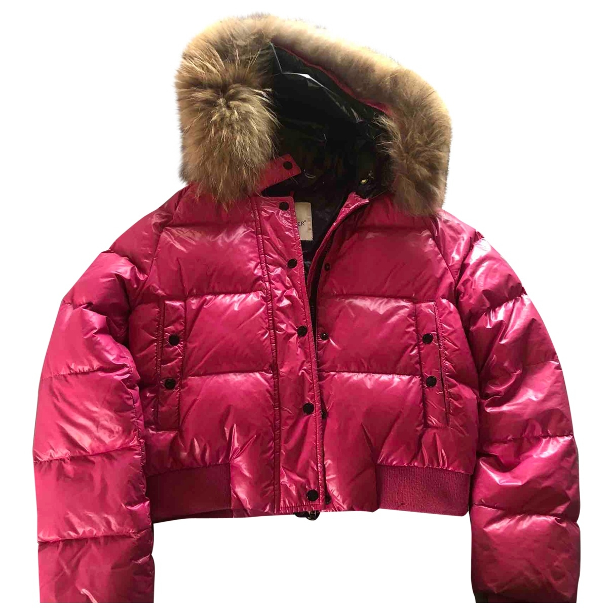 Moncler Fur Hood Jacke, Maentel in  Rosa Polyester