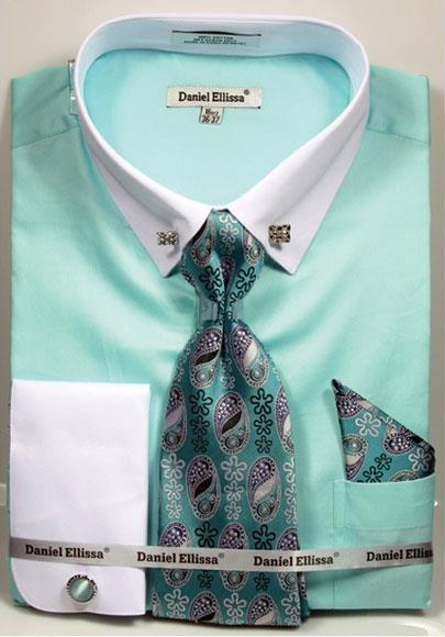 Mens Solid Pattern French Cuff 100% Cotton Mint Shirt Tie & Hanky Set