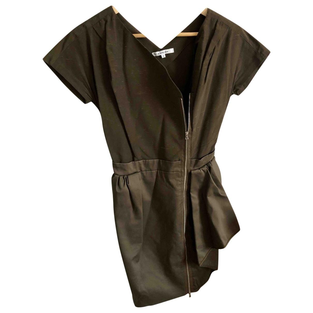 Carven \N Khaki Cotton - elasthane dress for Women 36 FR
