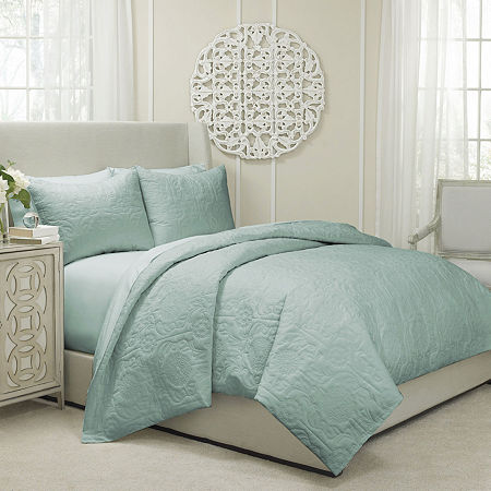 Vue Barcelona 3-pc. Quilted Coverlet/Duvet Set, One Size , Blue