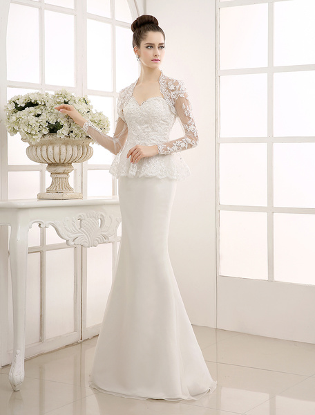 Milanoo Ivory Bolero Mermaid Wedding Gown with Sweetheart Neck Lace
