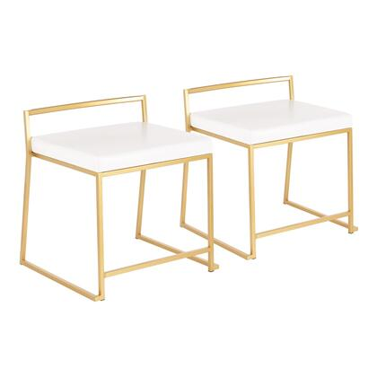 CH-FUJIAU W2 Fuji Contemporary/Glam Stackable Dining Chair in Gold Metal and White Faux Leather- Set of