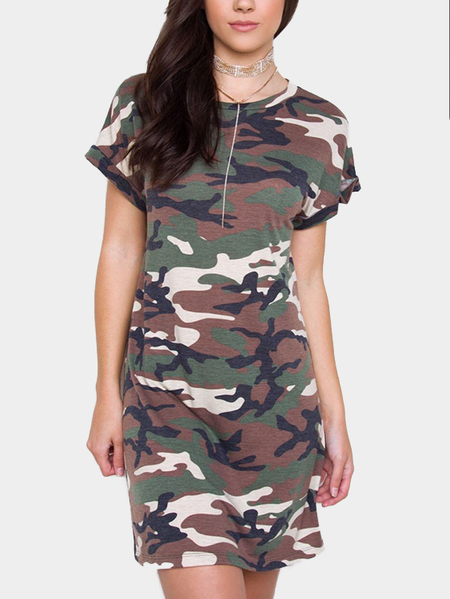 Yoins Camo Random Zip Design Round Neck Short Sleeves Dress