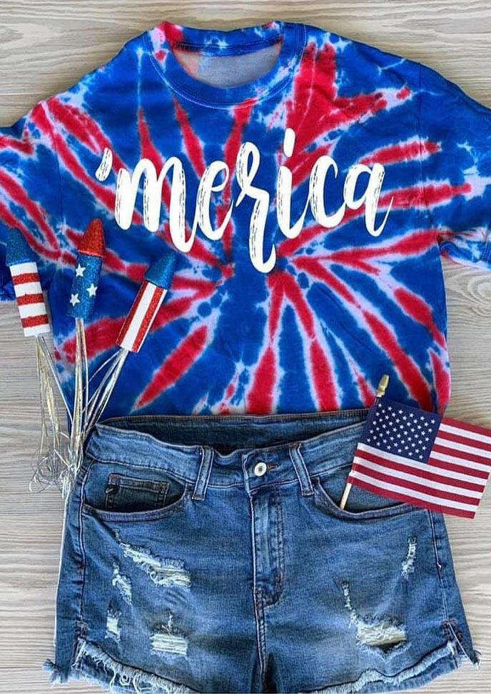 Tie Dye Merica T-Shirt Tee - Blue
