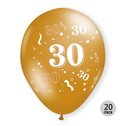 30e anniversaire Ballons métallisés Or Hélium Qualité 12