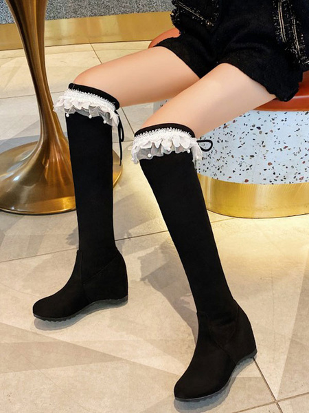 Milanoo Black Lolita Boots Round Toe Micro Suede Upper Lolita Footwear
