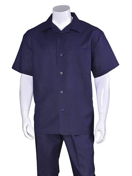 Men's Navy Linen Short Sleeve Plain Casual Walking Suit Pleated Pant