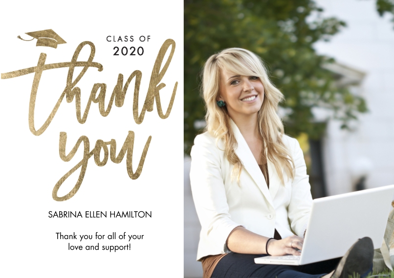 Graduation Thank You Cards 5x7 Cards, Standard Cardstock 85lb, Card & Stationery -Grad Thank You 2020 Classic by Tumbalina