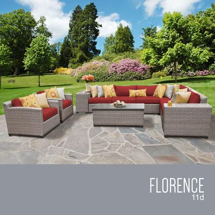 FLORENCE-11d-TERRACOTTA Florence 11 Piece Outdoor Wicker Patio Furniture Set 11d with 2 Covers: Grey and