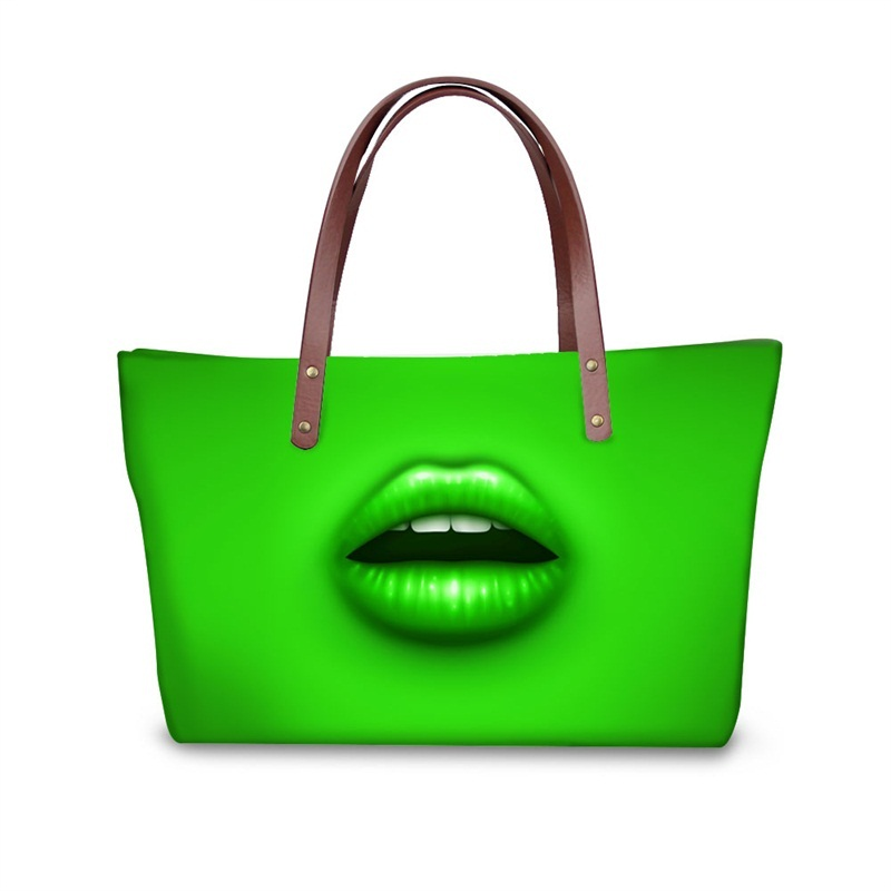Coloful Lips Waterproof Shoulder 3D Printed HandBags