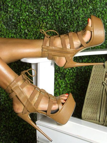 Milanoo Brown Gladiator Sandals Open Toe Stiletto Heel Summer Sandals Women High Heel Sandal Shoes