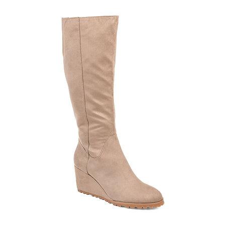 Journee Collection Womens Parker Wide Calf Wedge Heel Zip Dress Boots, 10 Medium, Beige