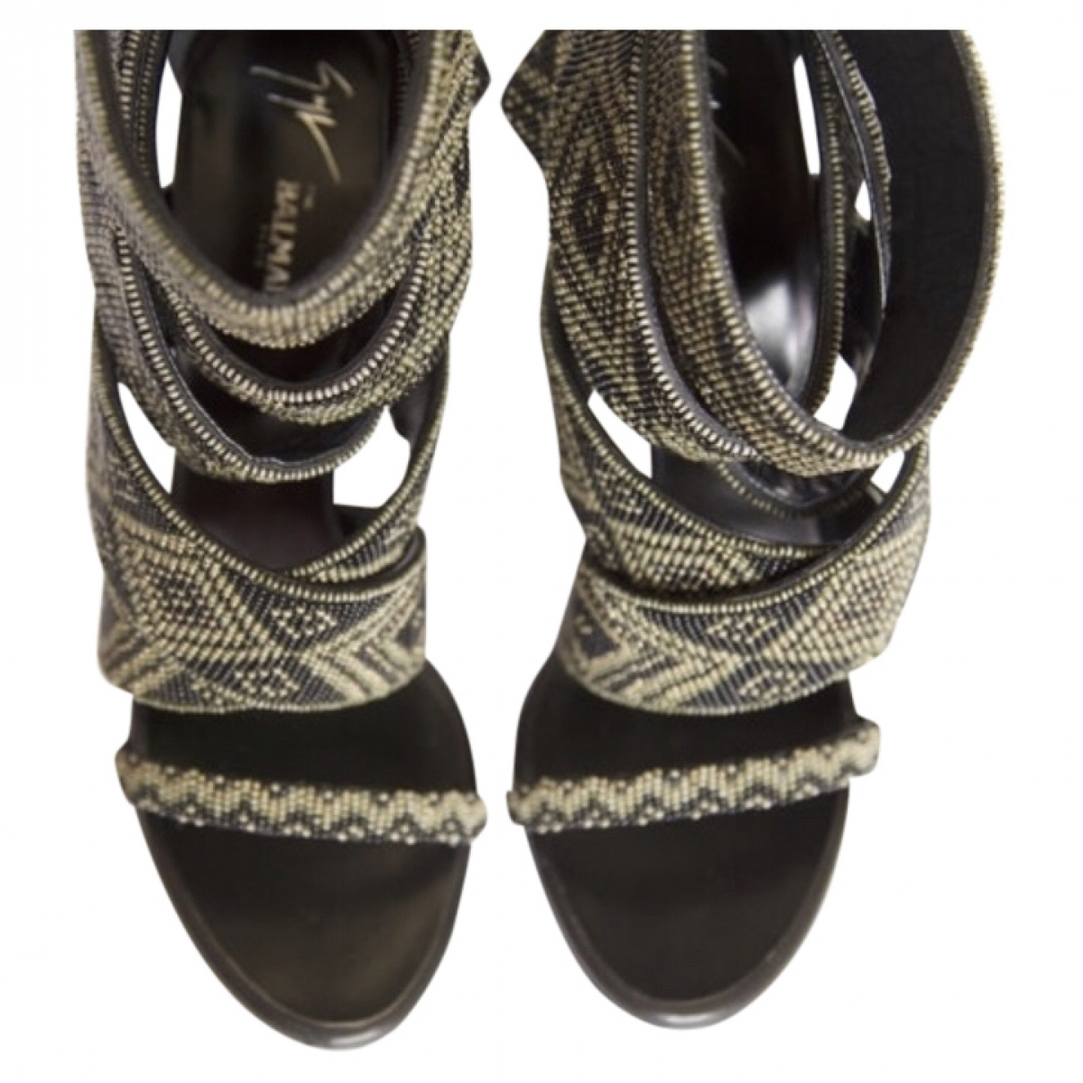 Giuseppe Zanotti X Balmain \N Black Glitter Sandals for Women 38 EU