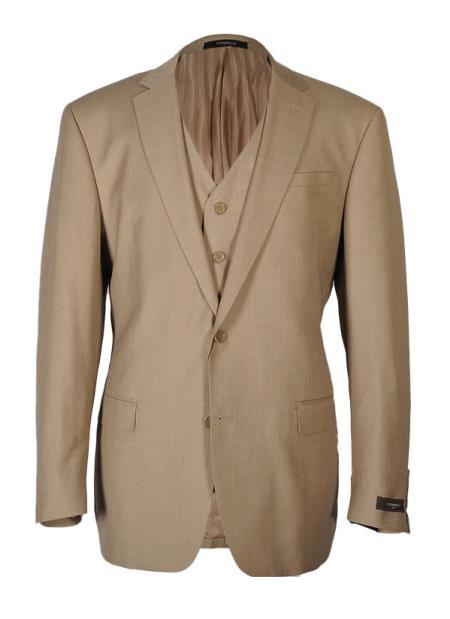Vitarelli Men's Notch Lapel 2 Button Fashion Fit Cut Vested Suit Tan
