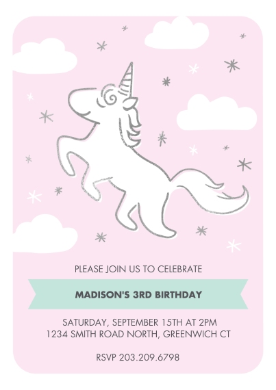 Kids Birthday Party 5x7 Cards, Premium Cardstock 120lb with Elegant Corners, Card & Stationery -Birthday Invite Magical Unicorn