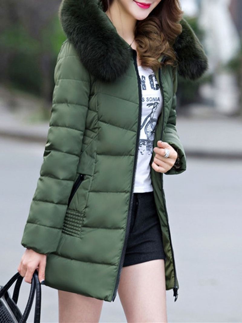 Ericdress Hooded Zipper Thick Plain Mid-Length Coat