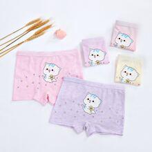 Toddler Girls 5pcs Cartoon Cat Print Underwear