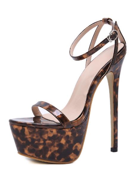 """Milanoo Sandalias sexy con correa en el tobillo para mujer Plataforma con estampado de leopardo 6.3 """"Tacon de aguja Zapatos sexy"""