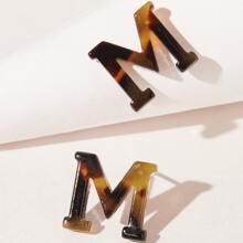 Letter M Stud Earrings