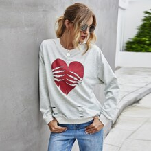Sweatshirt mit Herzen & Schaedel Msuter und Schlitz