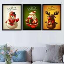 3 piezas pintura de pared con patron de navidad sin marco
