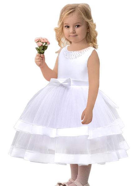 Milanoo Flower Girl Dresses Jewel Neck Tulle Sleeveless Tea Length Princess Silhouette Bows Kids Social Party Dresses
