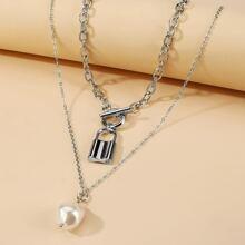 2 Stuecke Halskette mit Kunstperlen Dekor